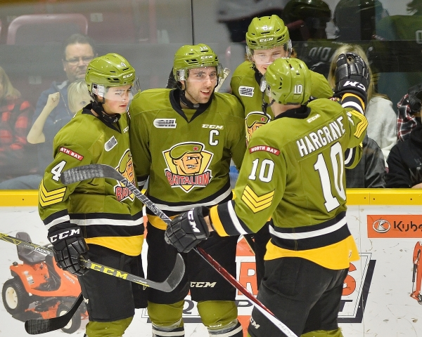 North Bay Battalion of the Ontario Hockey League. Photo by Terry Wilson / OHL Images.