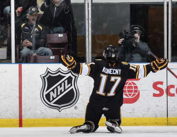 Travis Konecny scores three goals in his Sarnia Sting debut. Photo by Metcalfe Photography)