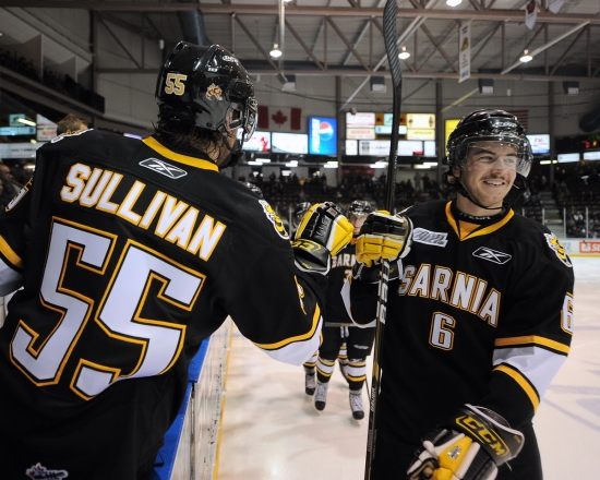 Kyle Flemington with the Sarnia Sting. CHL Images