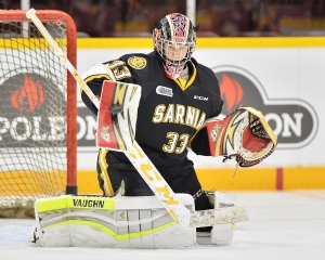 Kaden Fulcher of the Sarnia Sting. Photo by Terry Wilson / OHL Images.
