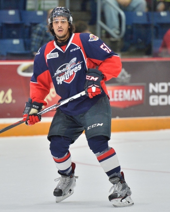 Jalen Chatfield of the Windsor Spitfires. Photo by Terry Wilson / OHL Images.