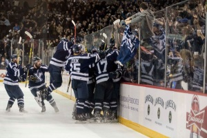 Michael Clarke scored the OT winner sending StFX to the 2016 University Cup Finals. Photo by Mona Ghiz