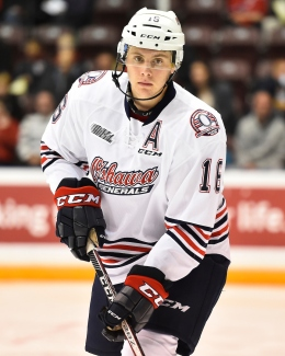 Riley Stillman of the Oshawa Generals. Photo by Aaron Bell/OHL Images