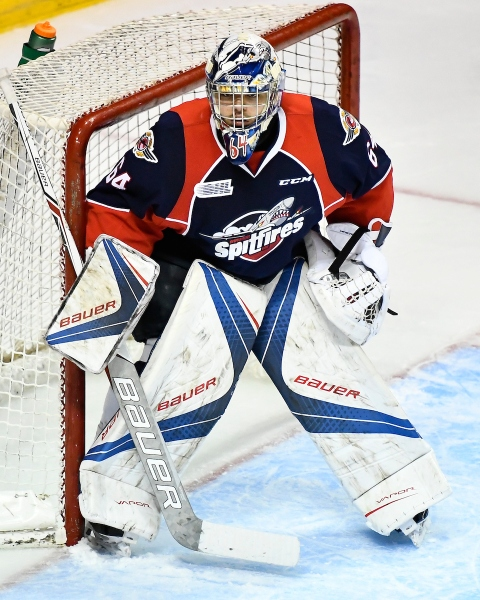 Michael DiPietro of the Windsor Spitfires. Photo by Aaron Bell/OHL Images