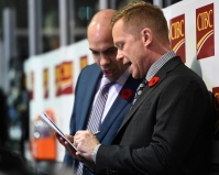 Windsor Spitfires Head Coach Trevor Letowski (right) was behind the bench for team OHL. Nov. 9, 2017. (Aaron Bell/OHL Images)