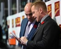 Windsor Spitfires Head Coach Trevor Letowski (right) was behind the bench for team OHL. Nov. 9, 2017. (Aaron Bell/OHL Images)