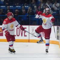 Russia celebrates one of their two goals Monday night. Nov 13, 2017. (Aaron Bell/CHL Images)