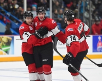 Connor Timmins (Sault Ste Marie) celebrates a powerplay goal with Nick Suzuki (Owen Sound) and Owen Tippett (Mississauga) Nov 13, 2017. (Aaron Bell/CHL Images)