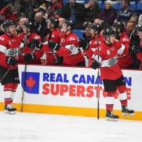 Connor Timmins (Sault Ste Marie) and Sean Durzi (Owen Sound) celebrate a goal with the OHL bench. Nov 13, 2017. (Aaron Bell/CHL Images)