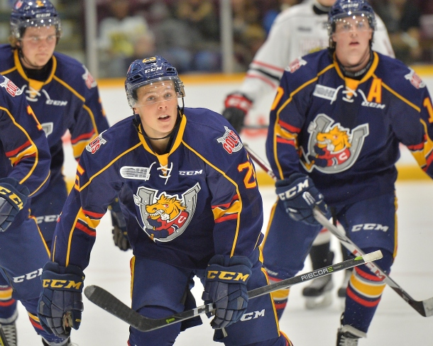 Kyle Heitznerof the Barrie Colts. Photo by Terry Wilson / OHL Images.