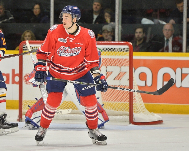 Sean Allen  of the Oshawa Generals. Photo by Terry Wilson / OHL Images.