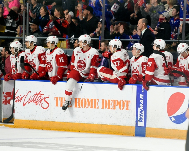 The Sault Ste. Marie Greyhounds Photo by Aaron Bell/OHL Images