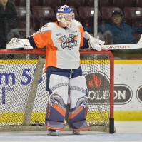 Luke Cavallin is in his second season in the OHL with the Flint Firebirds (Photo by Terry Wilson)