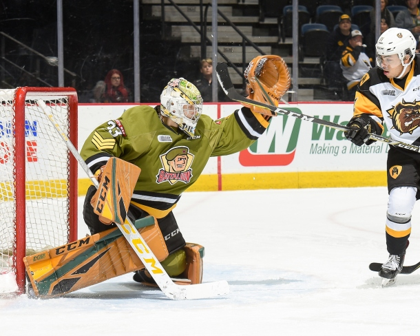 Goalie#33 Christian Propp of the North Bay Battalion