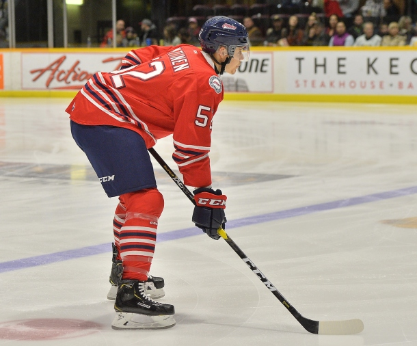 Nicolas Mattinen of the Oshawa Generals. Photo by Terry Wilson / OHL Images.