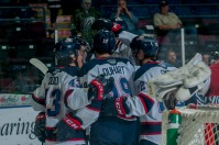 The Saginaw Spirit celebrate Dalton Durhart's goal to open the scoring. (Steven Frank Imagery)