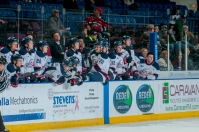 An anxious Saginaw bench looks on during the shootout. (Steven Frank Imagery)