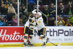 Jamieson Rees celebrates his first period goal with Sean Josling (Metcalfe Photography)